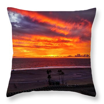 Blazing Sunset Over Malibu Throw Pillow