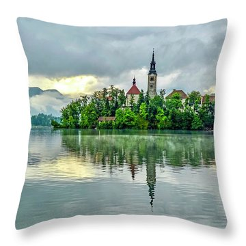 Bled At Sunrise Throw Pillow