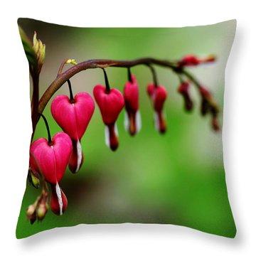 Bleeding Hearts Flower Of Romance Throw Pillow by Debbie Oppermann