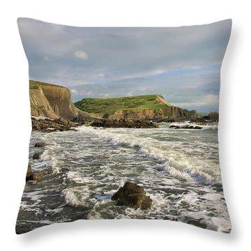 Blegberry Beach In North Devon Throw Pillow