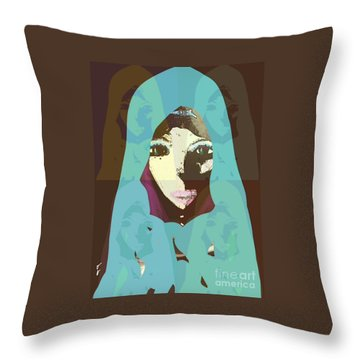 Throw Pillow featuring the mixed media Blessed 2 by Ann Calvo