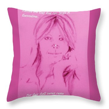 Throw Pillow featuring the drawing Blessed Are They by Denise Fulmer