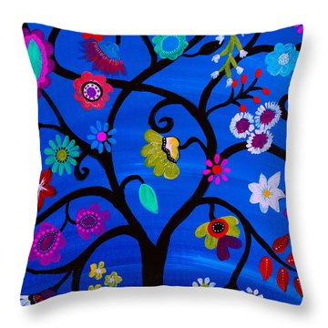 Throw Pillow featuring the painting Blessed Tree Of Life by Pristine Cartera Turkus