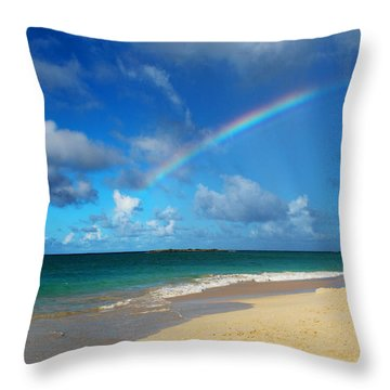 Blessed With A Rainbow Throw Pillow by Kerri Ligatich