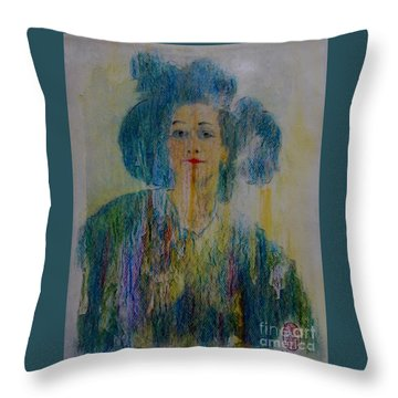 Throw Pillow featuring the painting Bleu Femme Fatal by Roberto Prusso