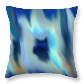 Bleu Glisser Carres Throw Pillow