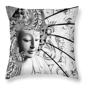 Throw Pillow featuring the digital art Bliss Of Being - Black And White Buddha Art by Christopher Beikmann