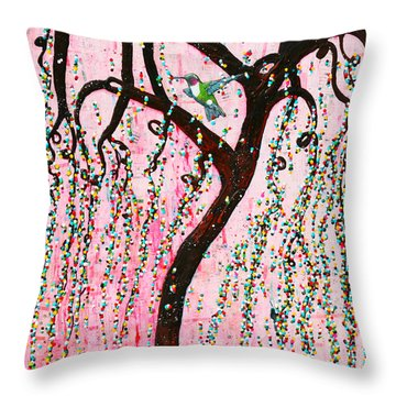 Throw Pillow featuring the mixed media Blissful Melody by Natalie Briney