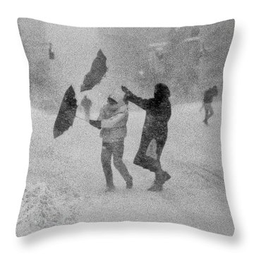 Blizzard On Third Avenue Throw Pillow