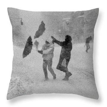 Blizzard On Third Avenue Throw Pillow