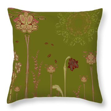 Blob Flower Garden Full View Throw Pillow