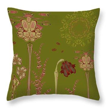 Blob Flower Garden Throw Pillow