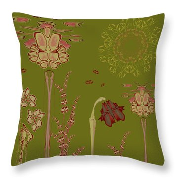 Blob Flower Garden Throw Pillow