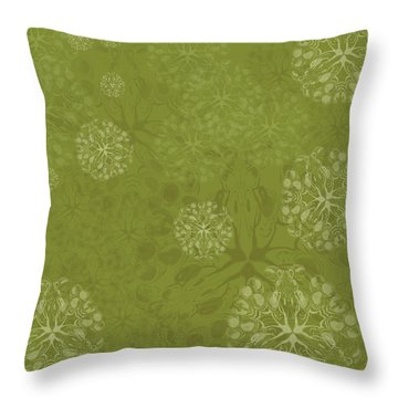 Blob Flower Painting #2 Yellow Green Throw Pillow