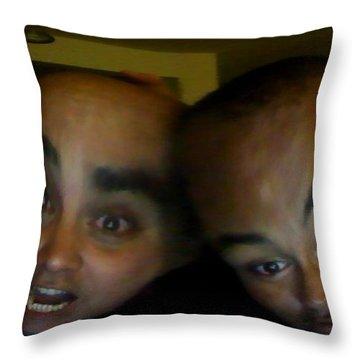 Block Heads Throw Pillow