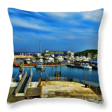 Block Island Marina Throw Pillow by Lourry Legarde