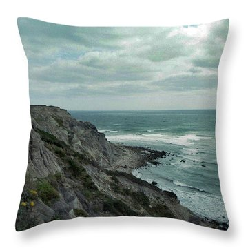 Block Island South East Lighthouse Throw Pillow by Skip Willits