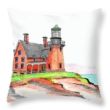 Block Island South Lighthouse Throw Pillow