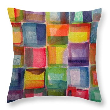Blocks II Throw Pillow by Holly York