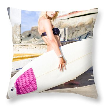 Blond Surfer Babe Holding Surfboard  Throw Pillow