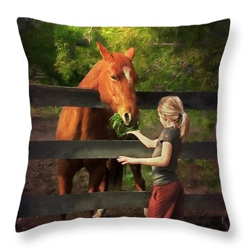 Blond With Horse Throw Pillow