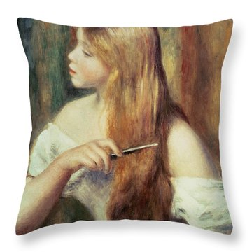 Blonde Girl Combing Her Hair Throw Pillow by Pierre Auguste Renoir
