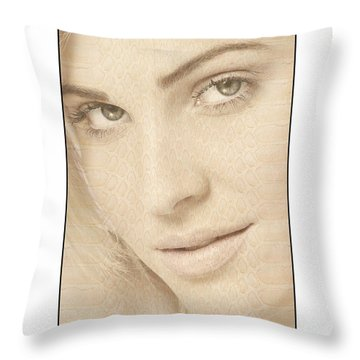 Blonde Girl's Face Throw Pillow by Michael Edwards
