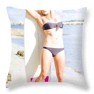 Blonde Surfboarder With Surfboard At Beach Throw Pillow