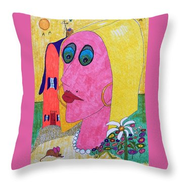 Blonde W/pearl Necklace Throw Pillow