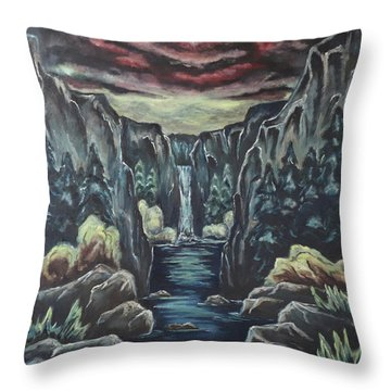 Throw Pillow featuring the painting Blood Moon by Cheryl Pettigrew