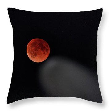 Throw Pillow featuring the photograph Blood Moon Comet by Quality HDR Photography