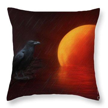 Blood Moon Crow Throw Pillow