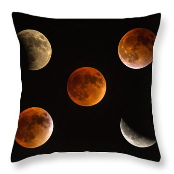 Blood Moon Eclipse Compilation Throw Pillow