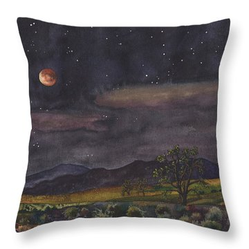 Blood Moon Over Boulder Throw Pillow