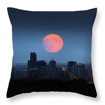 Blood Moon Over Denver Throw Pillow