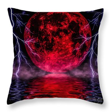 Blood Moon Over Mist Lake Throw Pillow by Naomi Burgess