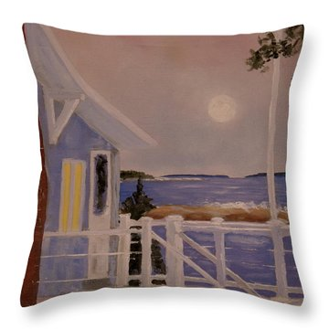 Blood Moon Over Muscongus Sound Throw Pillow