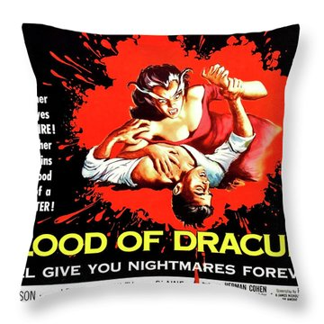 Blood Of Dracula, Vampire Woman Attack Throw Pillow
