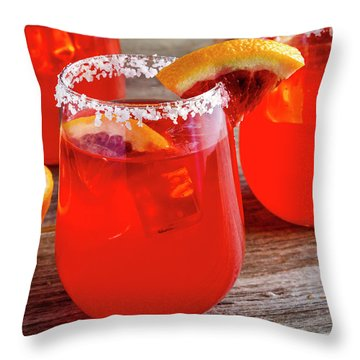 Throw Pillow featuring the photograph Blood Orange Margaritas by Teri Virbickis