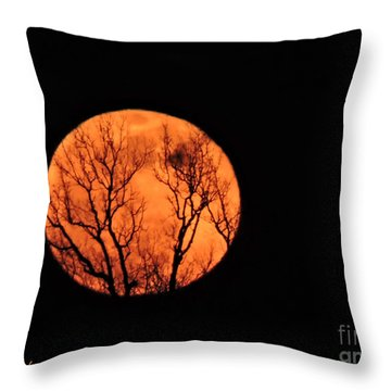 Blood Red Moon Throw Pillow
