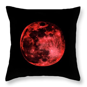 Blood Red Moonscape 3644b Throw Pillow