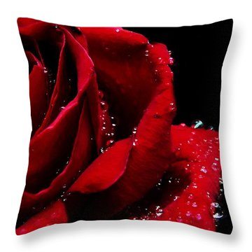 Blood Red Rose Throw Pillow