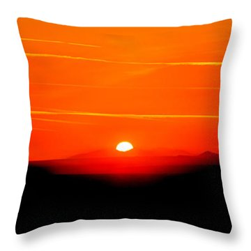 Blood Red Sunset Throw Pillow