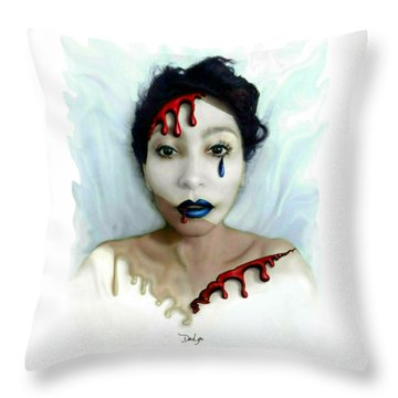 Blood Sweat Tears Faced Throw Pillow