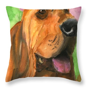 Bloodhound Dog Art Throw Pillow by Mary Jo Zorad