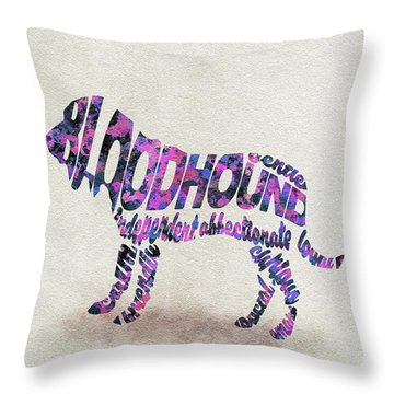 Throw Pillow featuring the painting Bloodhound Dog Watercolor Painting / Typographic Art by Ayse and Deniz