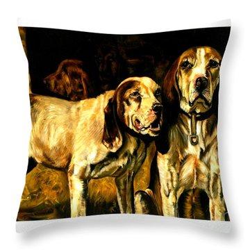 Throw Pillow featuring the painting Bloodhounds Lou Ellen Chattin 1914 by Peter Gumaer Ogden