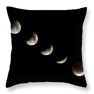 Bloodmoon Lunar Eclipse With  Phases Composite Throw Pillow
