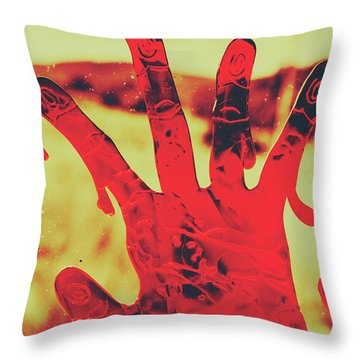 Bloody Halloween Palm Print Throw Pillow