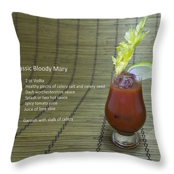 Bloody Mary, Bloody Caesar, Tomato Juice Throw Pillow by Karen Foley